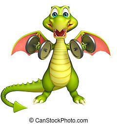 Dragon cartoon character with Gim equipment - 3d rendered...