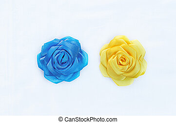 brooch handmade silk ribbons in the form of a  flower