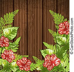 Summer background with green tropical leaves and flowers. Vector illustration.