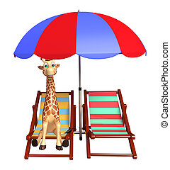 Giraffe cartoon character with beach chair - 3d rendered...