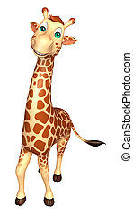 cute Giraffe cartoon character - 3d rendered illustration of...