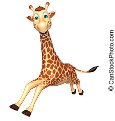 running Giraffe cartoon character - 3d rendered illustration...