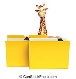 Giraffe cartoon character with folder - 3d rendered...