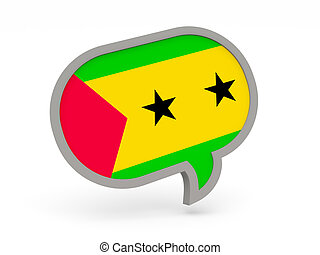 Chat icon with flag of sao tome and principe isolated on...