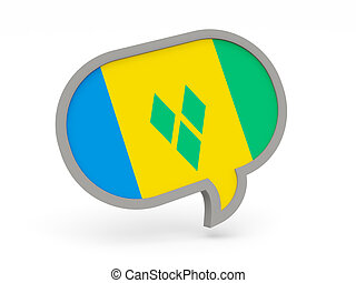 Chat icon with flag of saint vincent and the grenadines...