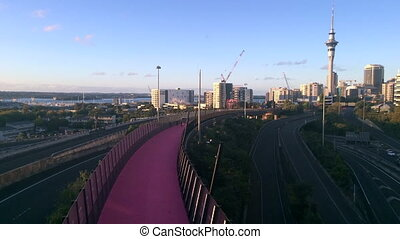 Timplapse of Auckland Skyline - Timplapse of bright pink...