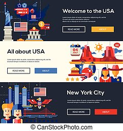 Traveling to the USA website headers banners set