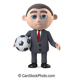 3d Businessman holding a soccer ball - 3d render of a...