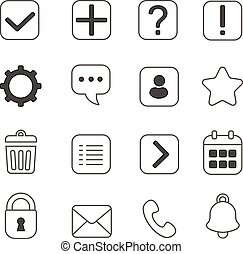 Notification and information linear icons set Question mark,...