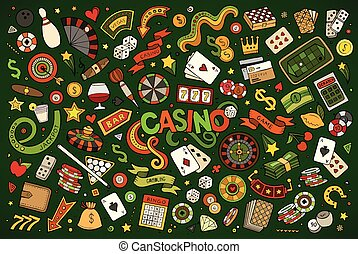 Colorful hand drawn doodles cartoon set of Casino objects...