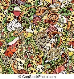 cartone animato, hand-drawn, doodles, di, italiano, cucina,...