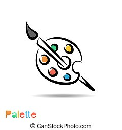 Color palette and artistic brush - Vector color palette and...
