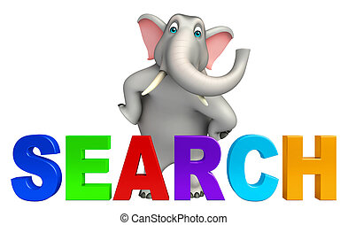 fun Elephant cartoon character with search - 3d rendered...