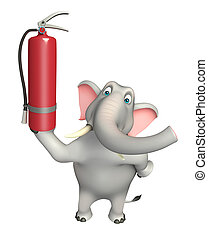 fun Elephant cartoon character with fire extinguisher - 3d...