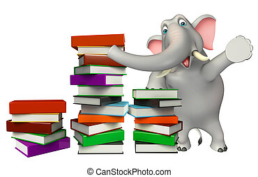 cute Elephant cartoon character with book stack