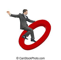 Businessman riding zero isolated on white background