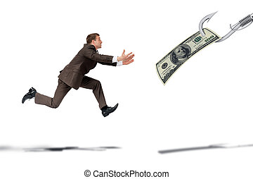 Businessman trying to catch dollar