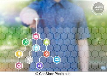 Abstract concept photo of man touching future technology social network button. Digital touch screen of icon for web, user mobile application, art iIllustration template, business virtual data bar