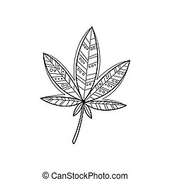 Ganja Zentangle For Coloring - Ganja Hand Drawn Vector...