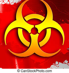 Bio hazard sign on a grunge background with some soft...