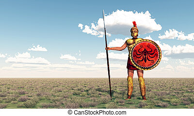 Hoplite of ancient Greece - Computer generated 3D...