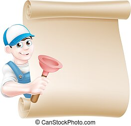 Cartoon Plunger Plumber - A cartoon handyman or plumber...