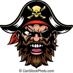 Cartoon Pirate Sports Mascot - An cartoon mean tough looking...