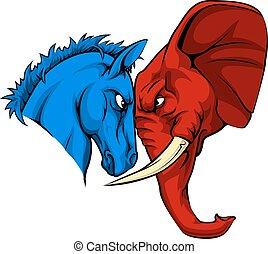 American Politics Republican Versus Democrat - A blue donkey...