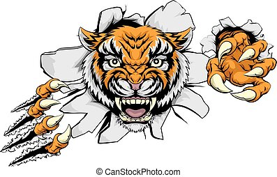 Tiger Attack Concept - Tiger animal sports mascot character...