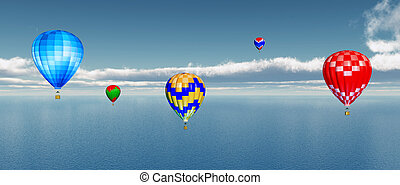 Hot air balloons - Computer generated 3D illustration with...