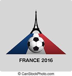 France Euro 2016 logos. Eiffel Tower Icon Design.