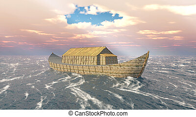 Noah's Ark in the stormy ocean - Computer generated 3D...