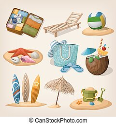 Beach vacation icon set. Vector illustration