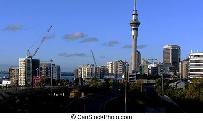 Auckland skyline and traffic - Auckland skyline from...