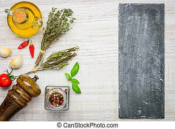 Cooking Ingredients and Copy Space - Black board copy space...
