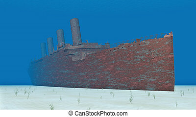 Wreck of the Titanic - Computer generated 3D illustration...