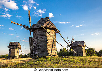 Windmill in Pirogovo museum, Kiev, Ukraine - Traditional...