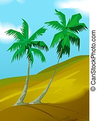 Coconut tree	 - Illustration of two coconut tree