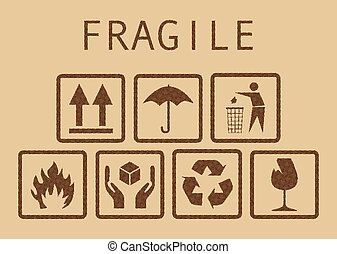 Fragile symbols - Set of fragile symbols, illustaration