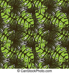 Engraved palm leaf in vintage style,  seamless pattern