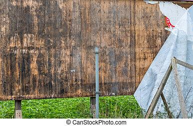 old billboard wooden, symbol of change, marketing, end