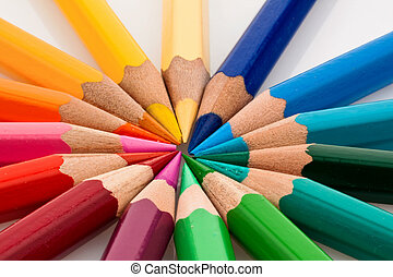colorful on white - many different colored colorful crayons...