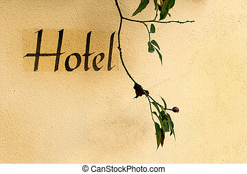 inscription on a hotel - the wort hotel to a house wall