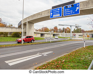 austria, linz, city highway on binder michel on highway a7