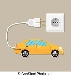 Electric Vehicle car with plug