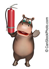 Hippo cartoon character with fire extinguisher - 3d rendered...
