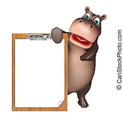 Hippo cartoon character with exam pad - 3d rendered...