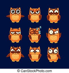 Brown Owl Emoji Collection Flat Vector Cartoon Style Funny...