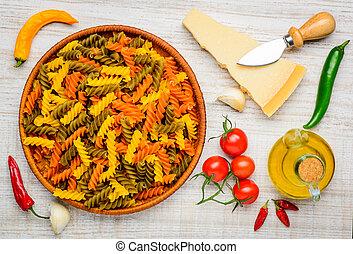 Colored Fusilli Doppia Rigatura and Food - Colored Fusilli...