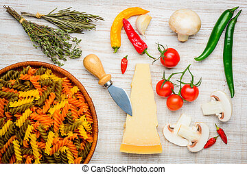 Colored Fusilli Pasta and Vegtables - Colored Fusilli Doppia...